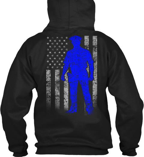 Police Officer Thin Blue Line Flag (Amz) Black T-Shirt Back