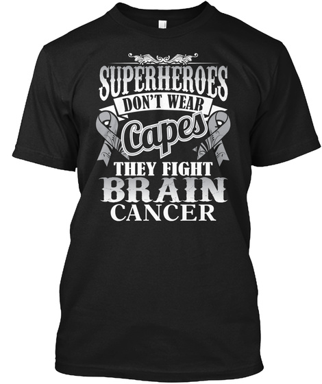 Superheroes Fight Brain Cancer Black T-Shirt Front