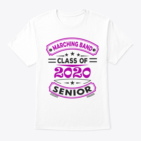 [Class Of 2020] Marching Band   Purple White T-Shirt Front