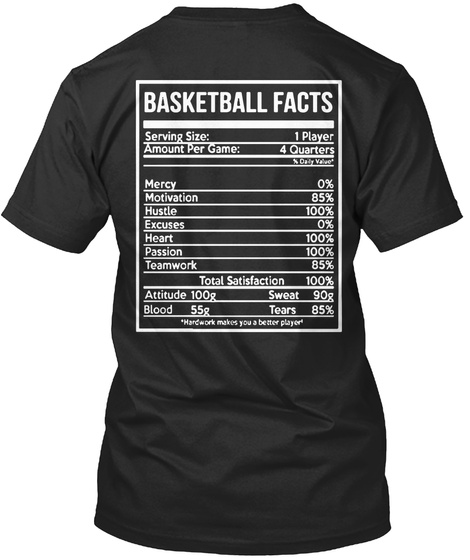 Basketball Facts Serving Size 1 Player Amount Per Game 4 Quarters Mercy 0% Motivation 85% Hustle 100% Excuses 0% Heart Black T-Shirt Back