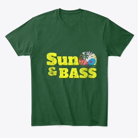 Drum And Bass Summer Festival D&B Sunset Forest Green  T-Shirt Front