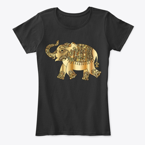 Beau éléphant Style Hindou Doré Black T-Shirt Front