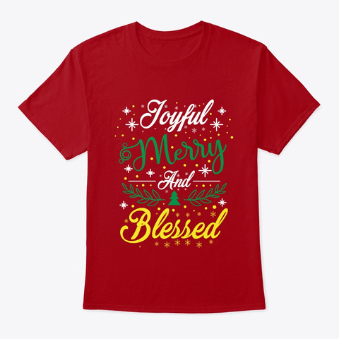 Merry Christmas Joyful And Blessed Gift Deep Red T-Shirt Front