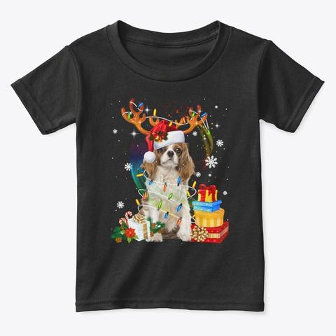 Cavalier King Charles Spaniel Christma Black T-Shirt Front