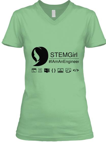 Stem Girl #Iaman Engineer {} </> Leaf  T-Shirt Front