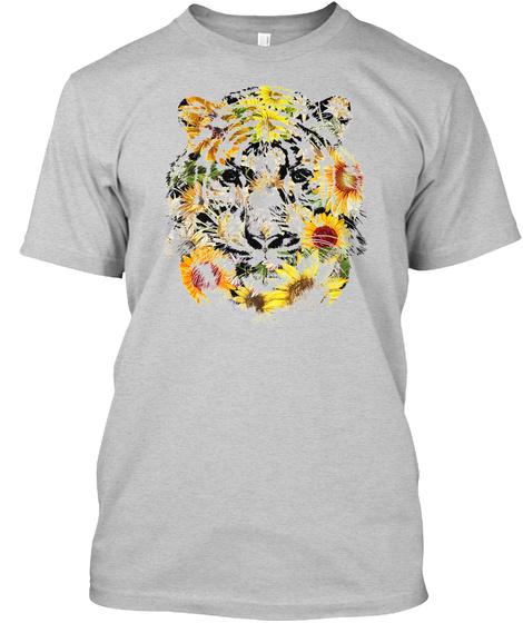 Tigers Flowers Face T Shirt Light Steel T-Shirt Front