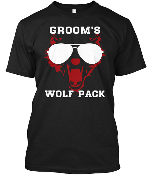 Groom's Wolf Pack, Wild Bachelor Party G Black T-Shirt Front