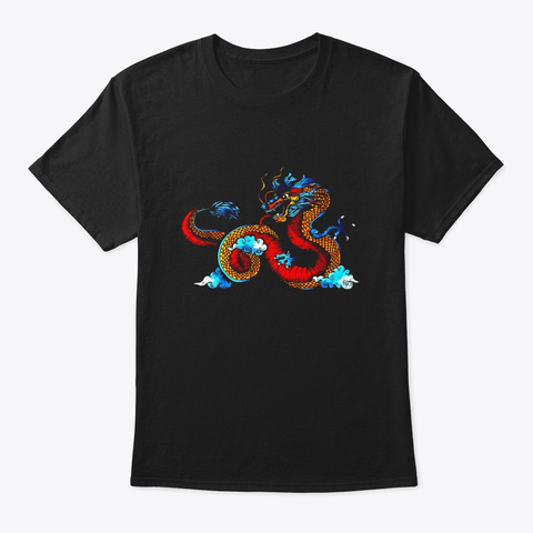 Funny Chinese Tattoo Dragon Costume Black T-Shirt Front
