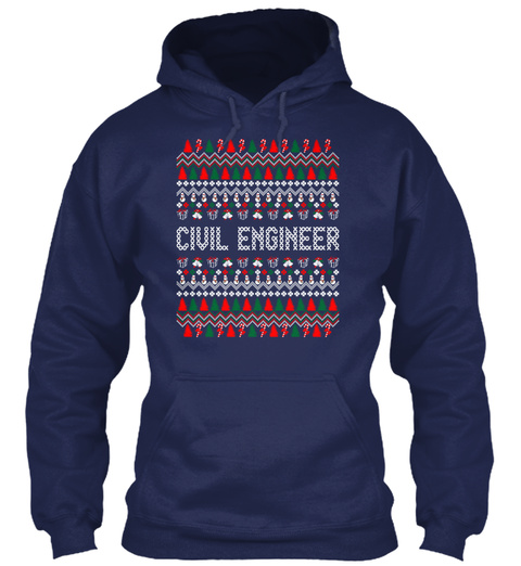 Civil Engineer Ugly Christmas Sweater Ts Navy Sweatshirt Front