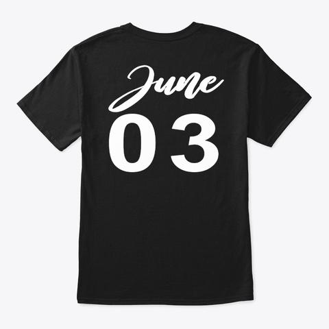 June 3   Gemini Black T-Shirt Back
