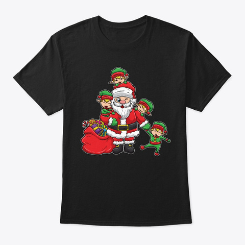 Santa Claus With Elves | Christmas Black T-Shirt Front