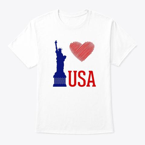 I Love Usa White T-Shirt Front
