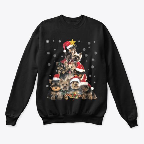 Boxer Dog Christmas Tree T Shirt Black T-Shirt Front