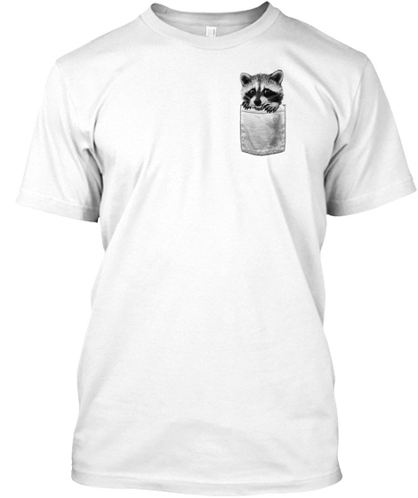 Pocket Raccoon White T-Shirt Front
