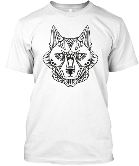 Abstract Wolf Art T Shirt White T-Shirt Front