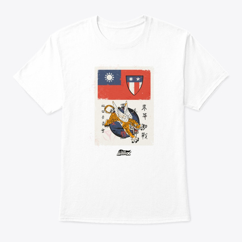 """Flying Tigers """"Blood Chit"""" White T-Shirt Front"""