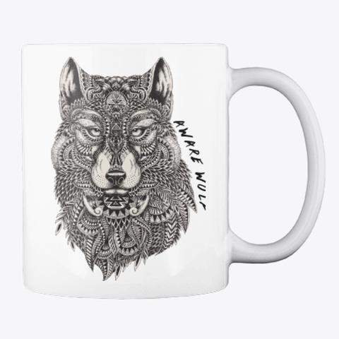 Aware Wolf Mug White T-Shirt Back