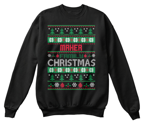 Maher Family Christmas Black T-Shirt Front