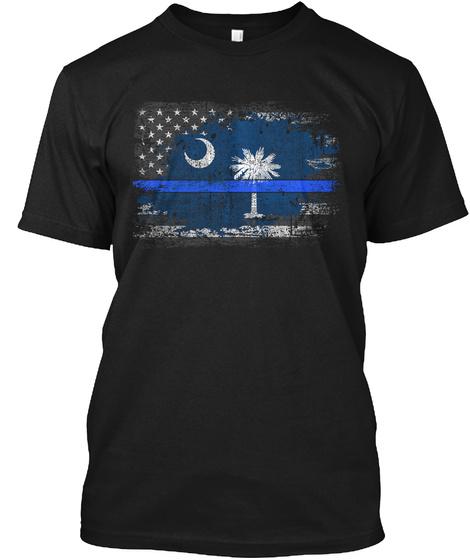 South Carolina Thin Blue Line Flag Black T-Shirt Front