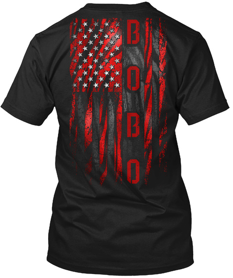 Bobo Red Tiger American Flag Black T-Shirt Back