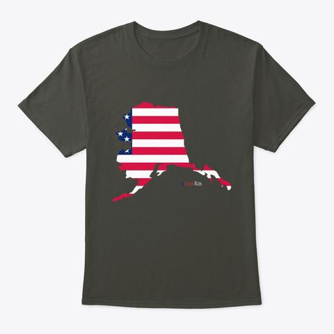 Alaska Map And Flag Smoke Gray T-Shirt Front