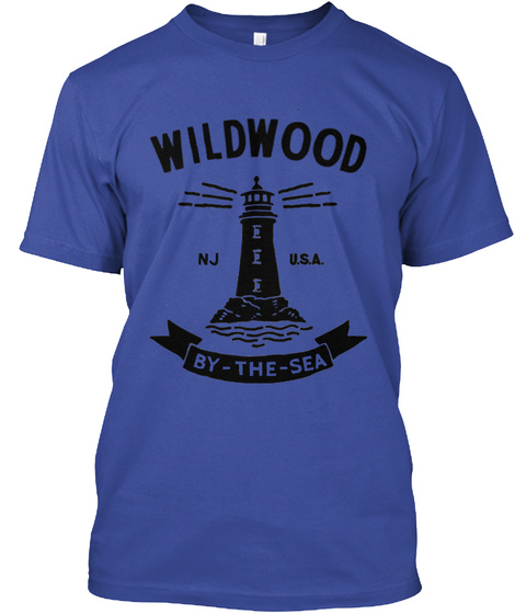 Wildwood Nj Usa By The Sea Deep Royal T-Shirt Front