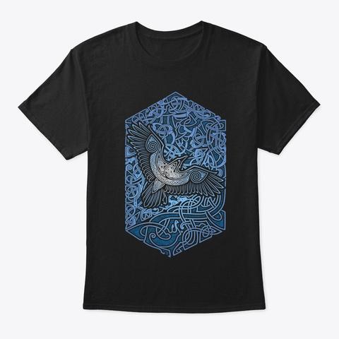 Norse, Odin, Valhalla, Vikings, Raven. Black T-Shirt Front