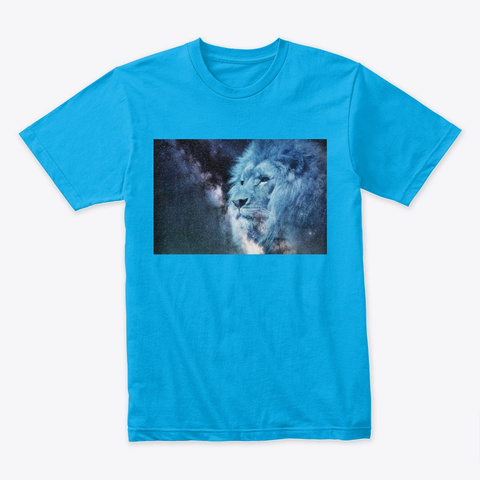 Space Lion Art Turquoise T-Shirt Front
