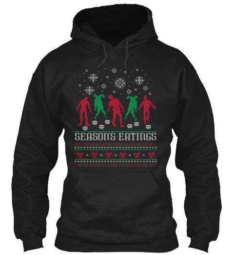 Season's Eatings Christmas Hoodies  Black T-Shirt Front