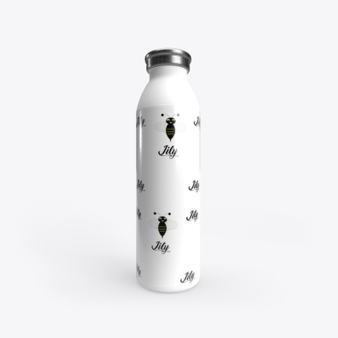 """""""Lily"""" Stainless Steel Water Bottle White T-Shirt Front"""
