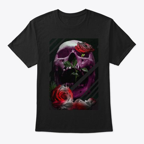 Skull And Roses Black T-Shirt Front