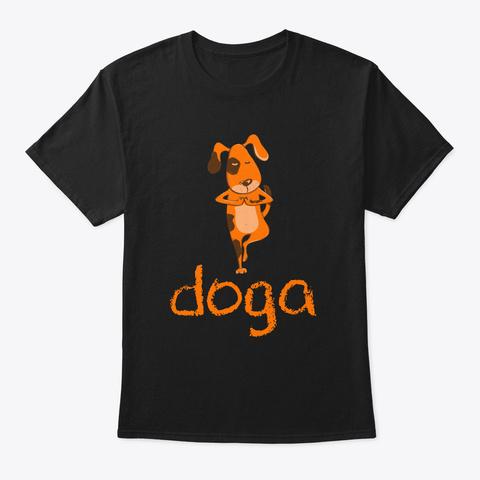 Doga Funny Meditation T Shirt Black T-Shirt Front