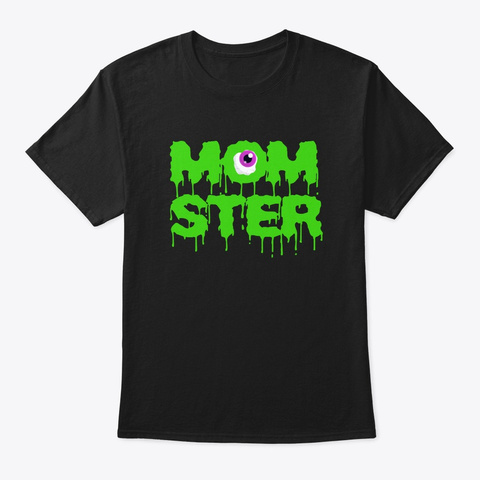 Momster Cute Womans Mom Halloween Black T-Shirt Front