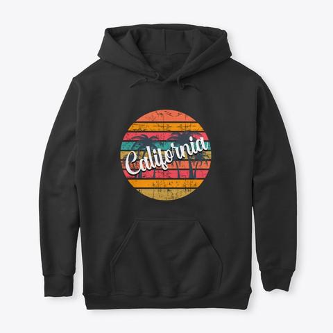 Retro California Palm Trees Black T-Shirt Front