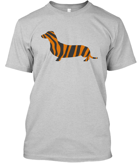 Dachshund Tiger Pattern Light Steel T-Shirt Front