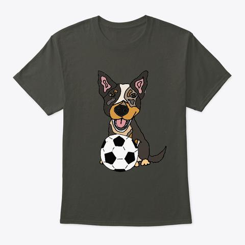 Dog Puppy Soccer Art For Men Tee Dog Smoke Gray T-Shirt Front