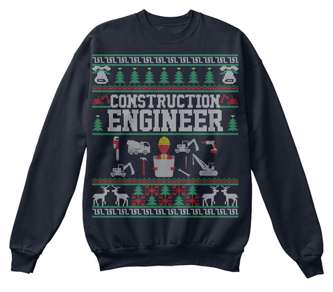 Construction Engineer French Navy T-Shirt Front