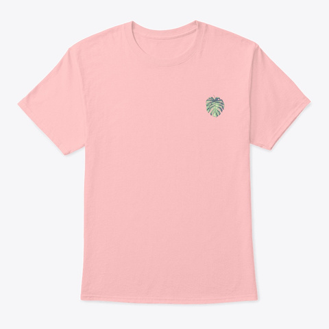 Tropical Palm Leaf Pale Pink T-Shirt Front