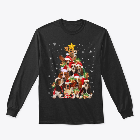 Basset Hound Christmas Tree T Shirt Xmas Black T-Shirt Front