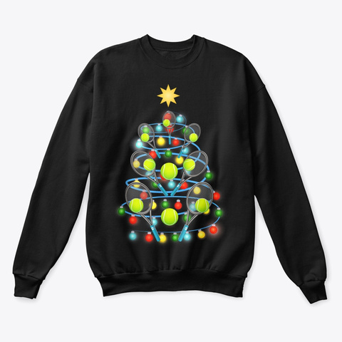 Tennis Christmas Tree Lights Black T-Shirt Front