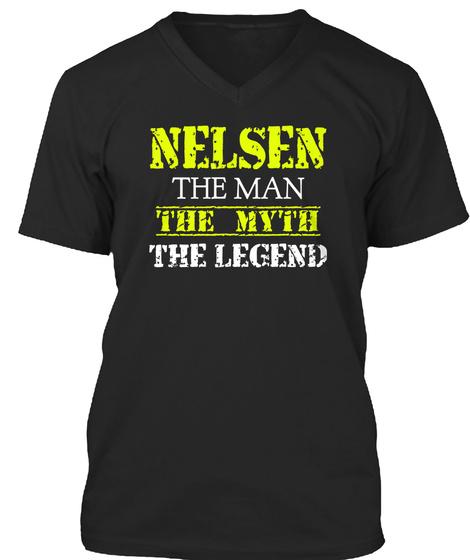 Nelsen The Man The Myth The Legend Black T-Shirt Front
