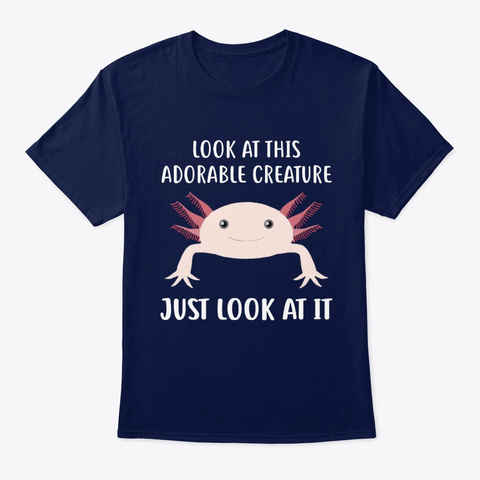 Adorable Creature Axolotl Navy T-Shirt Front