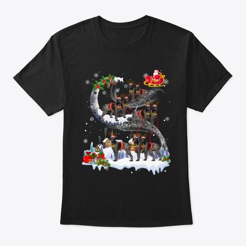 German Shorthair Pointer Dog Reindeer Black T-Shirt Front