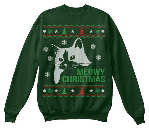 Meowy Christmas Deep Forest  T-Shirt Front
