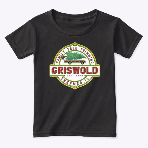 Griswold Family Tree Trimming Black T-Shirt Front