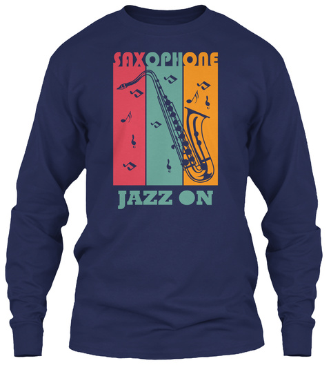 Saxophone Jazz Day T Shirt Navy T-Shirt Front