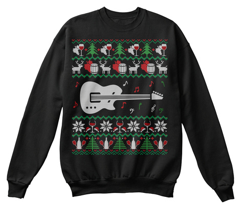 Guitar Wine Ugly Christmas Sweater Gifts Black T-Shirt Front