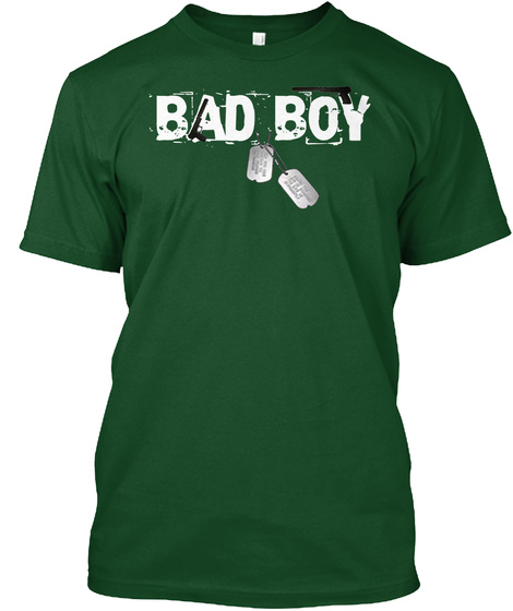 Bad Boy T Shirt With Dog Tags Deep Forest T-Shirt Front