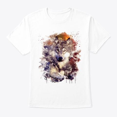 Watercolor Wolf White T-Shirt Front