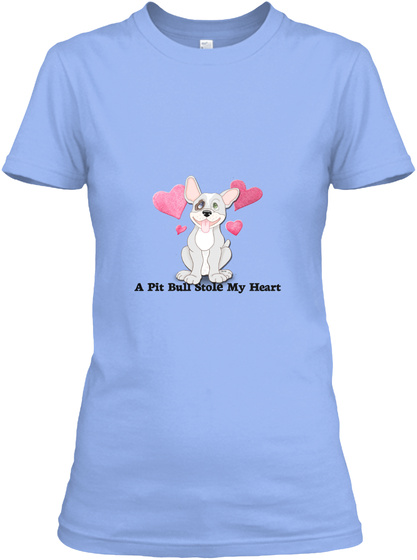 Critter Kin   A Pit Bull Stole Light Blue Women's T-Shirt Front